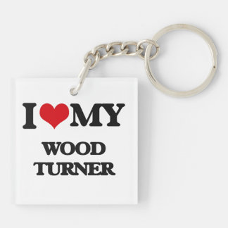 Amo a mi Turner de madera Llavero