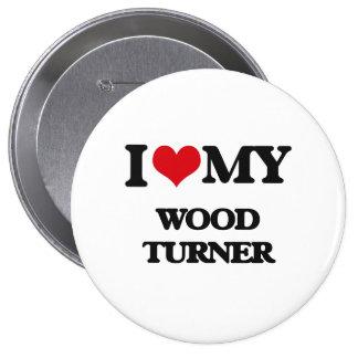 Amo a mi Turner de madera Pins