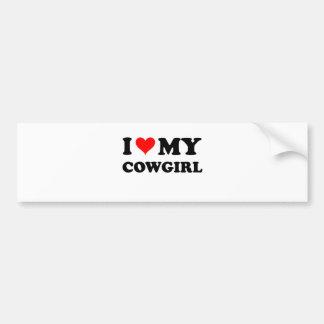 Amo a mi vaquera pegatina de parachoque