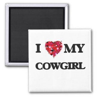 Amo a mi vaquera imán cuadrado