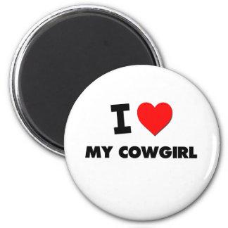 Amo a mi vaquera imán redondo 5 cm
