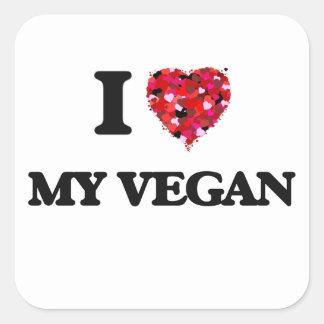 Amo a mi vegano pegatina cuadrada