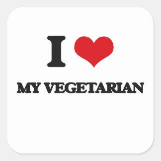 Amo a mi vegetariano pegatina cuadrada