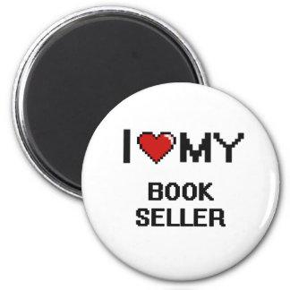 Amo a mi vendedor de libro imán redondo 5 cm