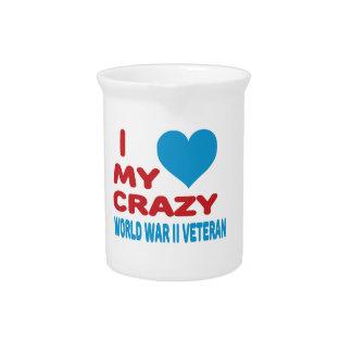 Amo a mi veterano loco de la Segunda Guerra Jarras De Beber