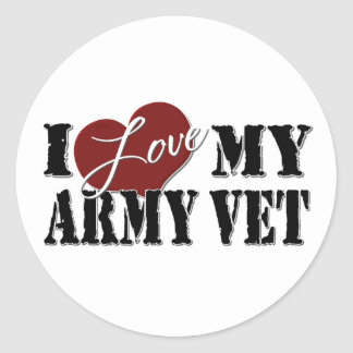 Amo a mi veterinario del ejército pegatina redonda