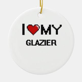 Amo a mi vidriero adorno redondo de cerámica
