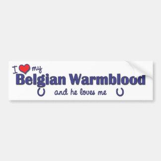 Amo a mi Warmblood belga (el caballo masculino) Pegatina Para Auto