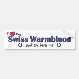 Amo a mi Warmblood suizo (el caballo femenino) Pegatina Para Auto