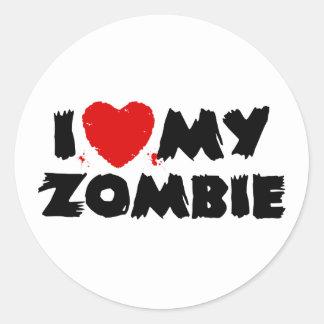 Amo a mi zombi etiqueta redonda
