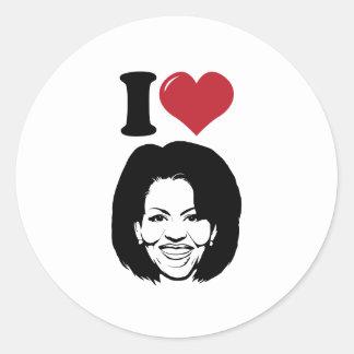 Amo a Michelle Obama Pegatina Redonda