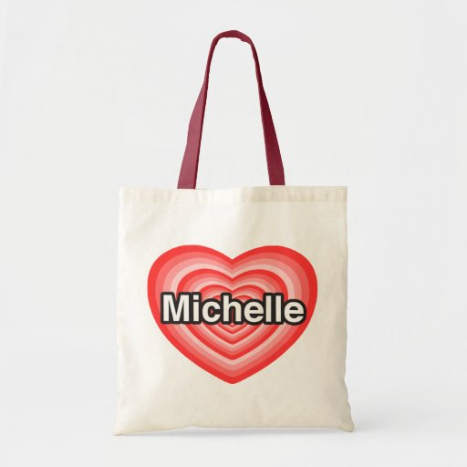 Amo a Michelle. Te amo Michelle. Corazón Bolsa Lienzo