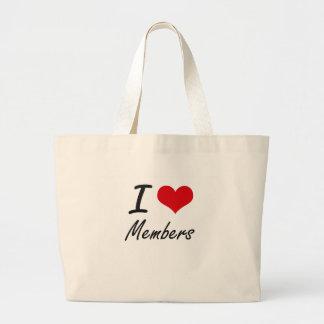 Amo a miembros bolsa tela grande