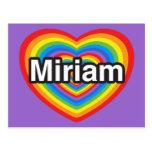 Amo a Miriam. Te amo Miriam. Corazón Postales