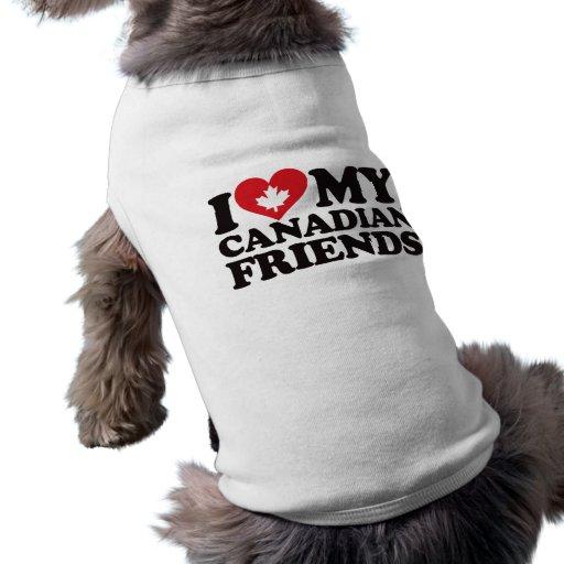 Amo a mis amigos canadienses camisetas de perrito