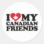 Amo a mis amigos canadienses etiquetas redondas