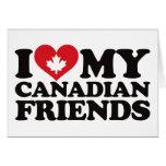 Amo a mis amigos canadienses tarjeta