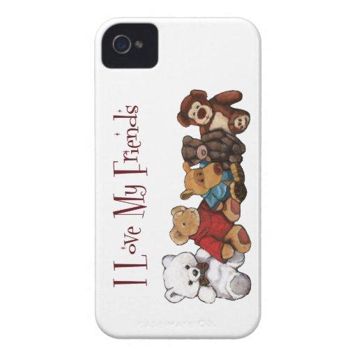 Amo a mis amigos: Osos de peluche, animales, iPhone 4 Funda