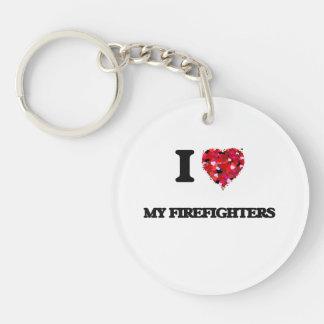 Amo a mis bomberos llavero redondo acrílico a una cara