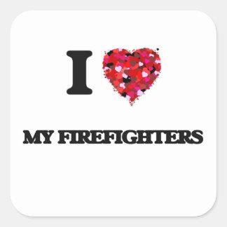 Amo a mis bomberos pegatina cuadrada