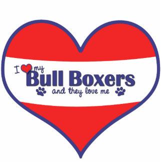 Amo a mis boxeadores de Bull (los perros múltiples Adorno Fotoescultura