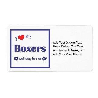 Amo a mis boxeadores (los perros múltiples) etiquetas de envío