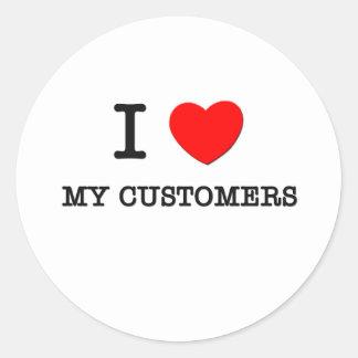 Amo a mis clientes pegatina redonda
