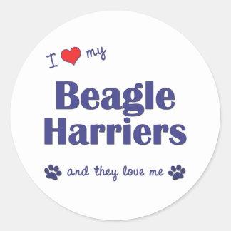 Amo a mis corredores de cross del beagle (los pegatina redonda