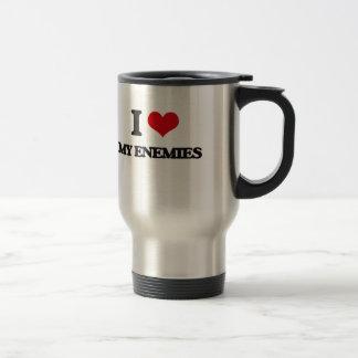 Amo a mis enemigos taza de viaje de acero inoxidable