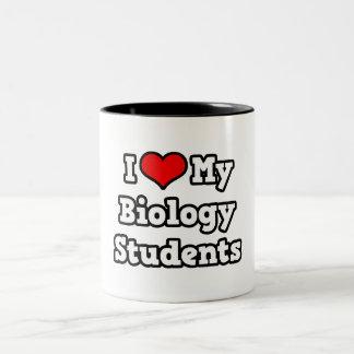 Amo a mis estudiantes de la biología taza de dos tonos