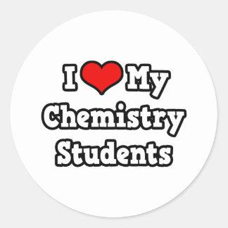 Amo a mis estudiantes de la química pegatinas redondas