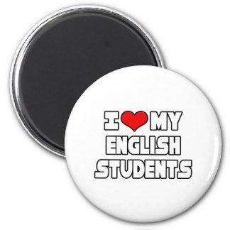 Amo a mis estudiantes ingleses imán redondo 5 cm