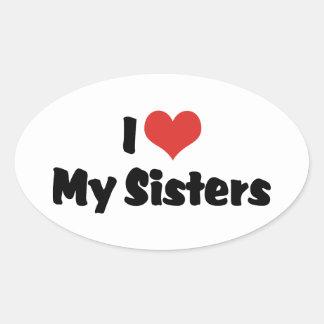 Amo a mis hermanas colcomanias de óval