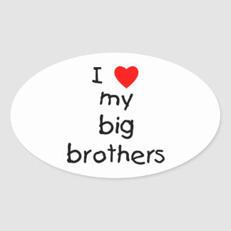 Amo a mis hermanos mayores pegatina ovalada