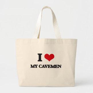 Amo a mis hombres de las cavernas bolsa tela grande
