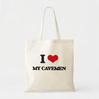 Amo a mis hombres de las cavernas bolsa tela barata