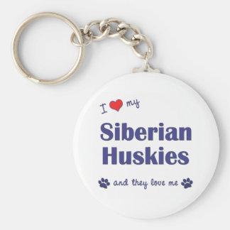 Amo a mis huskyes siberianos (los perros múltiples llavero redondo tipo pin