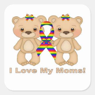 Amo a mis mamáes (LGBT) Pegatinas Cuadradas Personalizadas