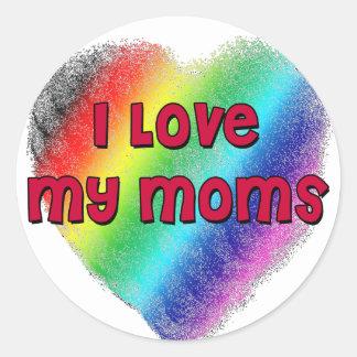 Amo a mis mamáes etiqueta redonda