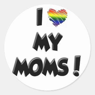 ¡Amo a mis mamáes! Pegatina Redonda