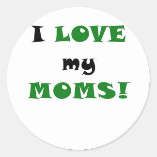 Amo a mis mamáes pegatinas redondas
