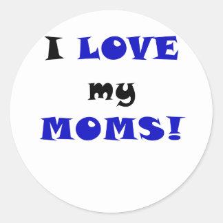 Amo a mis mamáes pegatina redonda