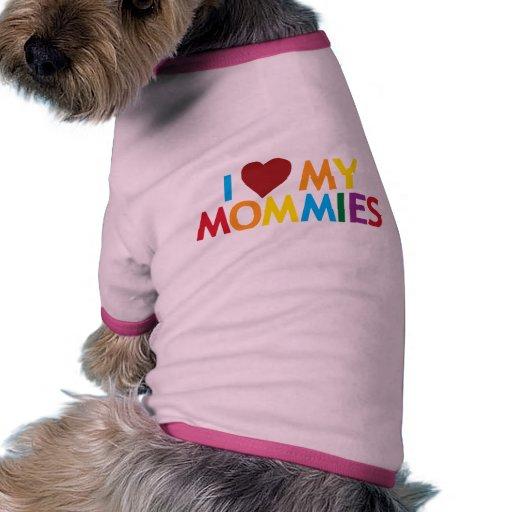 Amo a mis mamás camiseta con mangas para perro