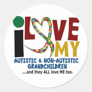 Amo a mis nietos autísticos y de NonAutistic 2 Pegatina Redonda