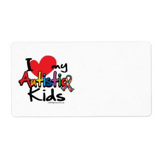 Amo a mis niños autísticos etiqueta de envío