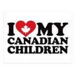 Amo a mis niños canadienses tarjetas postales
