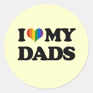 Amo a mis papás pegatina redonda