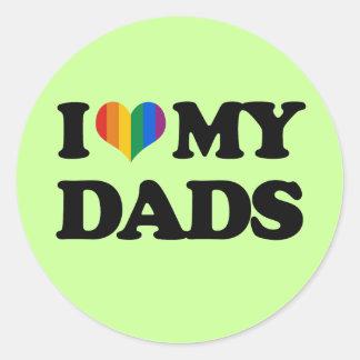 Amo a mis papás pegatinas redondas