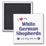 Amo a mis pastores alemanes blancos (los perros mú iman para frigorífico