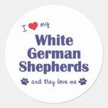 Amo a mis pastores alemanes blancos (los perros pegatinas redondas